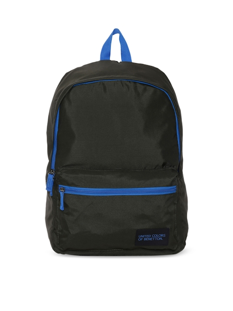 United Colors of Benetton Unisex Black Solid Backpack