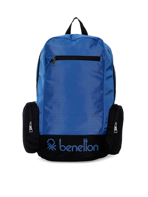 United Colors of Benetton Unisex Blue Solid Backpack