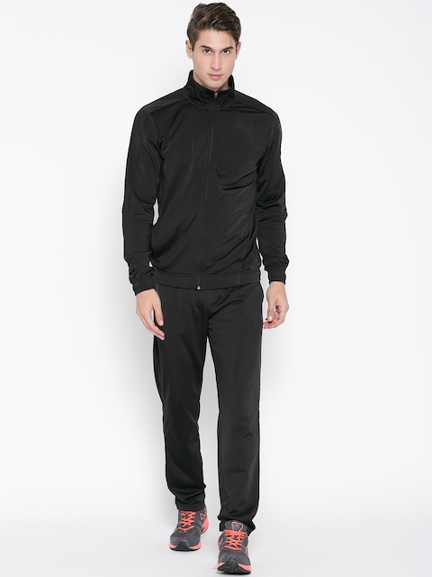 Puma Men Black Techstripe Tricot Tracksuit