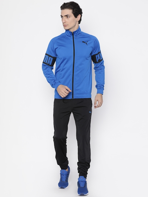 Puma Men Blue & Black Regular Fit Rebel Tricot Tracksuit