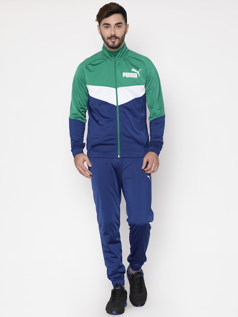 Puma Men Blue & Green Iconic Tricot Tracksuit
