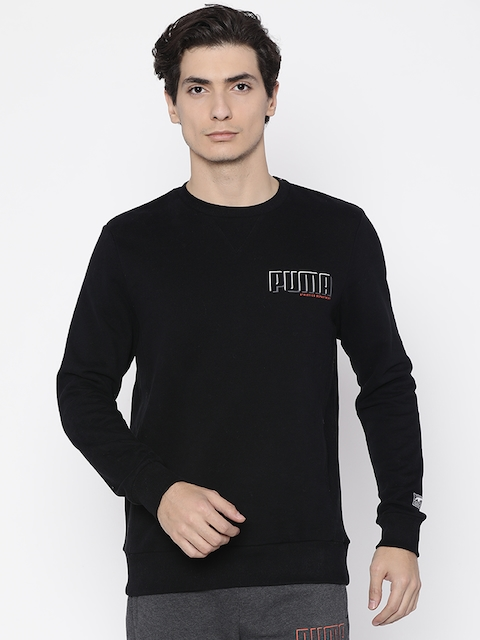 Puma Men Black Solid STYLE Athletics Crew FL Sweatshirt