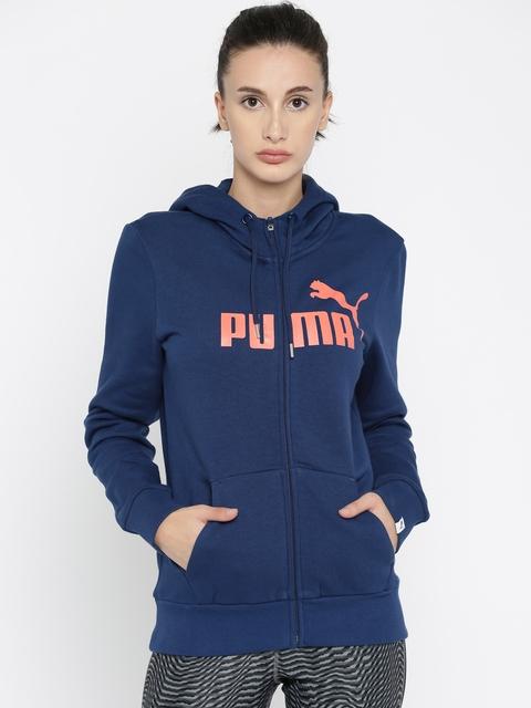 Puma Women Blue ESS No.1 FZ Printed Hooded Sweatshirt
