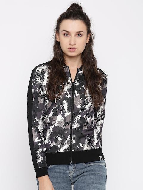 Puma Women Black & Grey Printed AOP Archive T7 Track Sporty Jacket