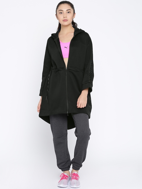 Puma Women Black Solid Lacing Midlayer Parka Jacket