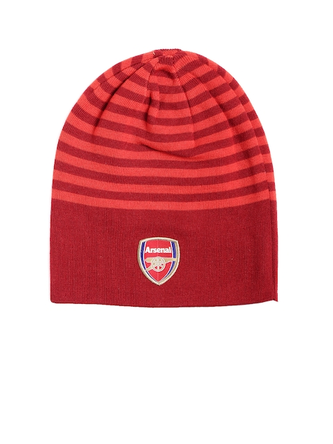 Puma Unisex Red & Blue Arsenal Striped Reversible Beanie
