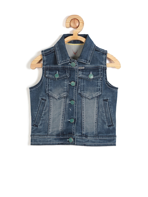 Allen Solly Junior Boys Blue Solid Denim Jacket