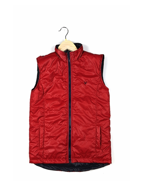 Allen Solly Junior Boys Red Solid Quilted Jacket