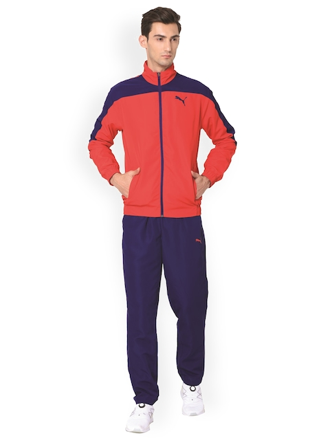 PUMA Men Blue & Red Evostripe Woven Tracksuit