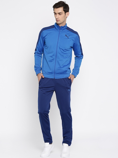 Puma Men Blue Techstripe Tricot Suit Tracksuit