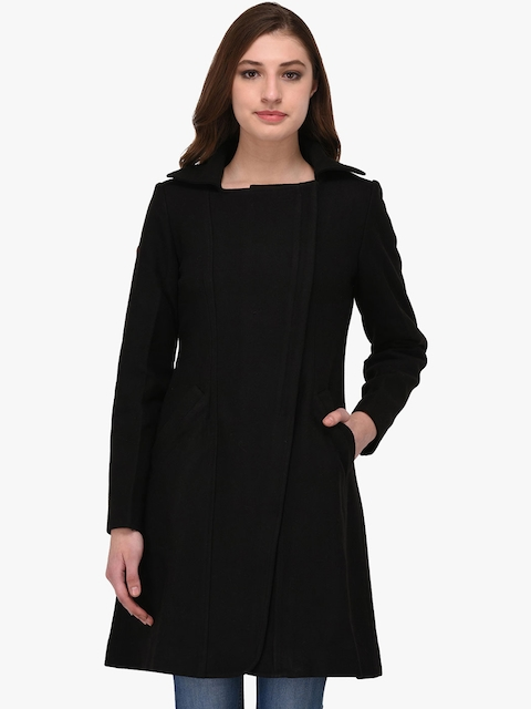 Owncraft Women Black Solid Wool Coat