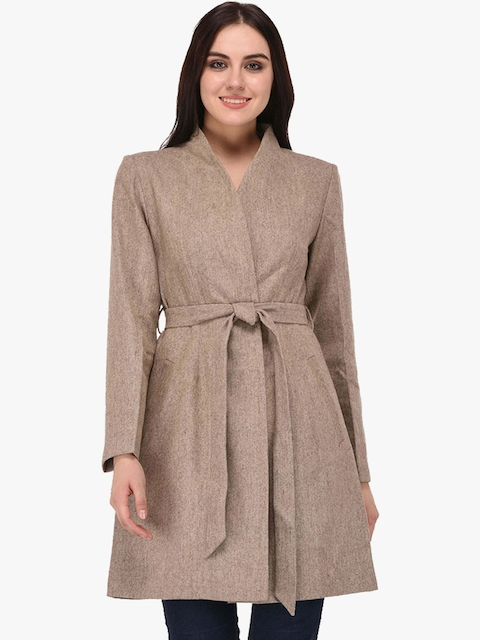 Owncraft Women Beige Solid Wool Coat