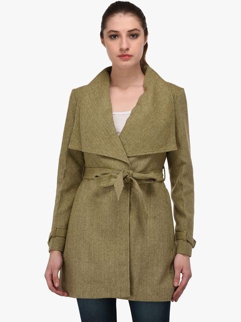 Owncraft Women Green Solid Wool Coat