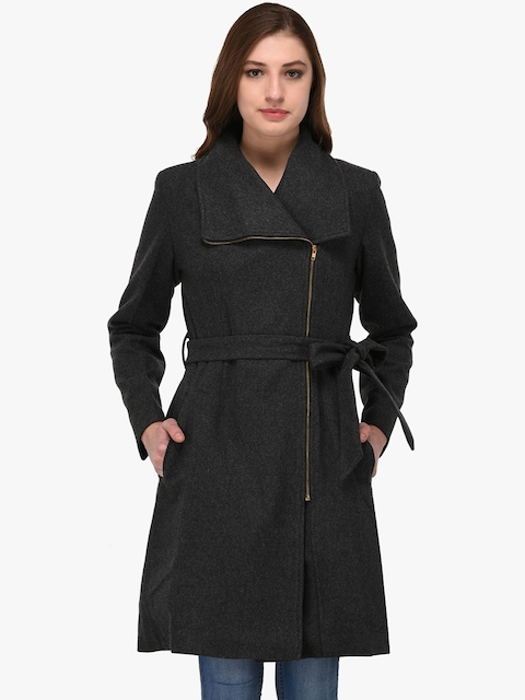 Owncraft Women Grey Solid Wool Coat
