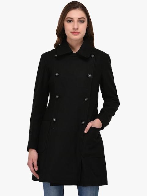 Owncraft Women Black Solid Wool Coat