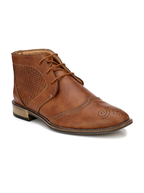 Prolific Men Tan Perforations Synthetic Leather High-Top Flat Boots