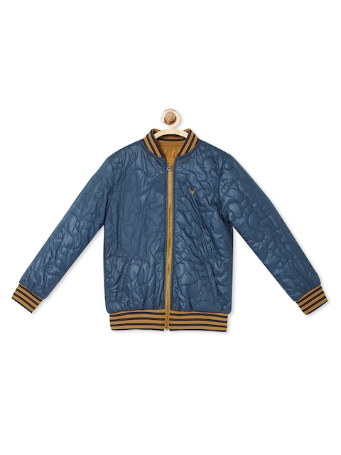 Allen Solly Junior Boys Blue Solid Quilted Jacket