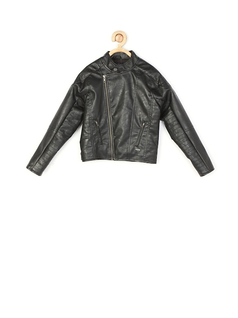 Allen Solly Junior Boys Black Solid Bomber Jacket