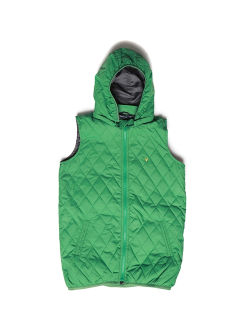 Allen Solly Junior Boys Green Solid Quilted Jacket