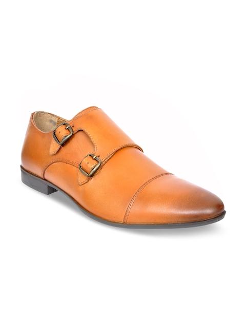 Allen Cooper Men Tan Leather Formal Monk Shoes