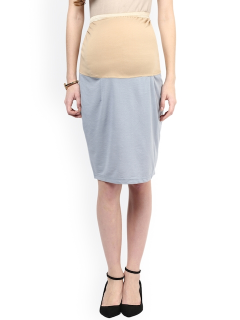 Mamacouture Grey & Beige Colourblocked Maternity Pencil Skirt