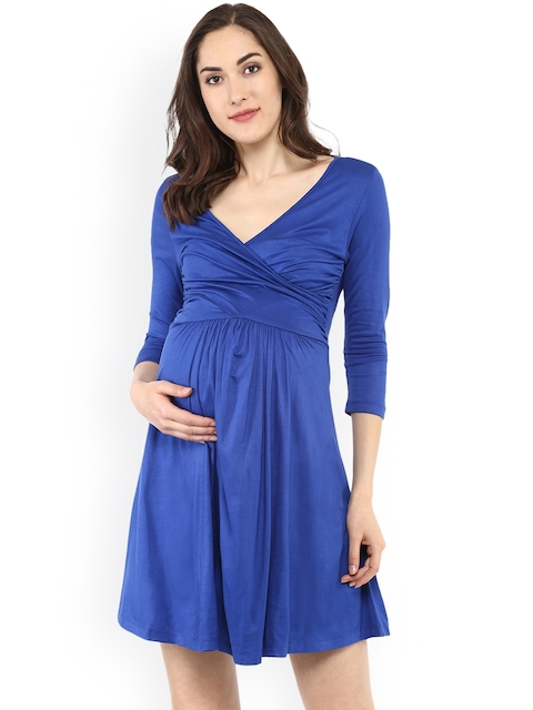 Mamacouture Women Blue Solid Fit and Flare Dress