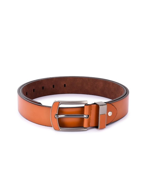 BuckleUp Men Tan Solid Leather Belt