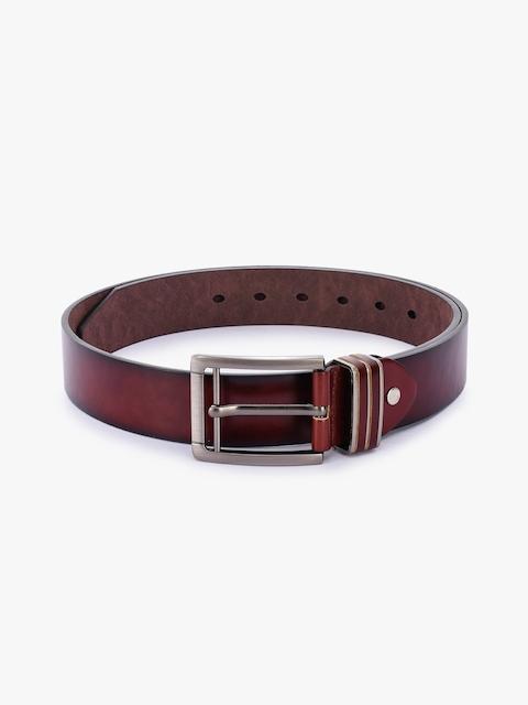 BuckleUp Men Maroon Solid Leather Belt