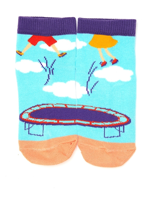 Plan B Kids Turquoise Blue Patterned Ankle-Length Socks