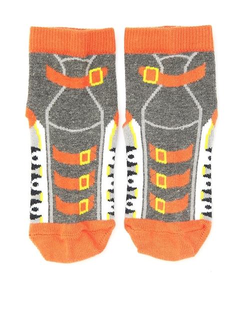 Plan B Kids Orange & Grey Patterned Above Ankle-Length Socks