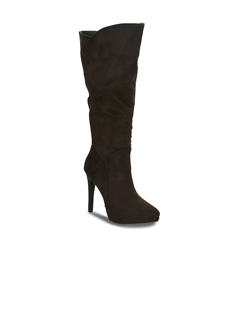 Get Glamr Women Brown Solid Heeled Boots