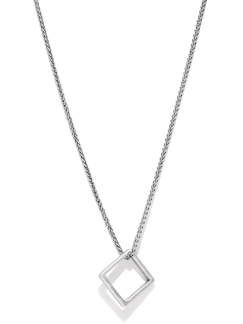 Being Human Men Oxidised Silver-Toned Square-Shaped Pendant with Chain