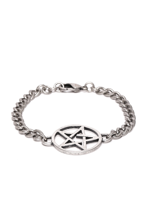Being Human Men Oxidised Silver-Toned Link Bracelet