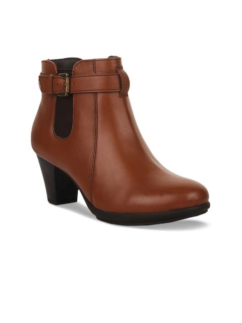 Bruno Manetti Women Tan Solid Heeled Boots