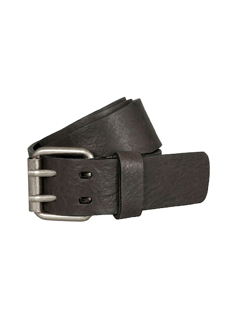 next Men Black & Coffee Brown Textured Leather Belt