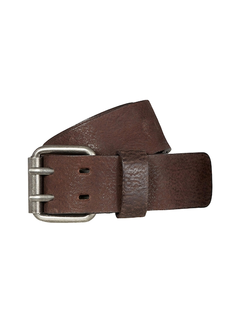 next Men Brown Textured Leather Belt