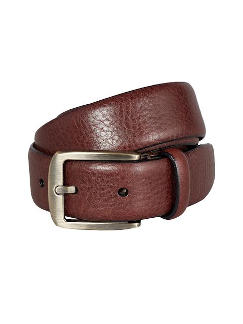 next Men Brown Textured Leather Belt