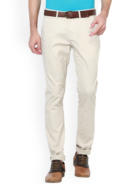 Van Heusen Sport Men Beige Slim Fit Solid Chinos
