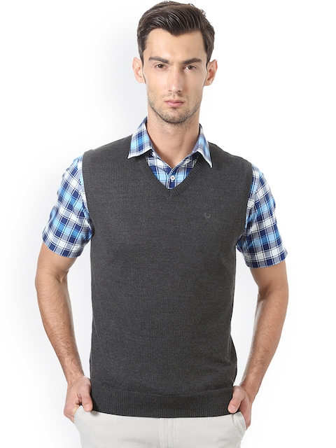 Allen Solly Men Grey Self Design Sweater Vest