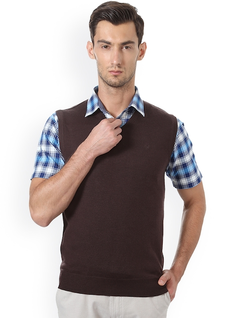 Allen Solly Men Brown Solid Sweater Vest