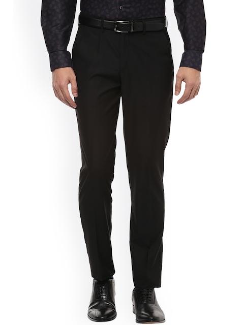 Peter England Elite Men Black Slim Fit Solid Formal Trousers