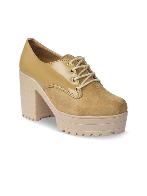 VALIOSAA Women Beige Solid Heeled Boots