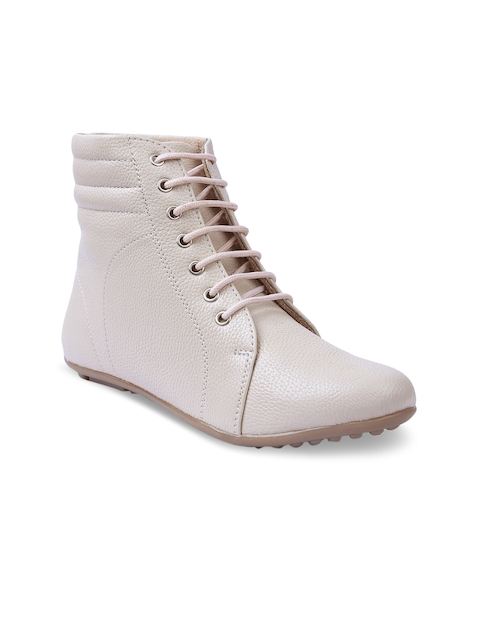 VALIOSAA Women Cream-Coloured Solid Synthetic Mid-Top Flat Boots