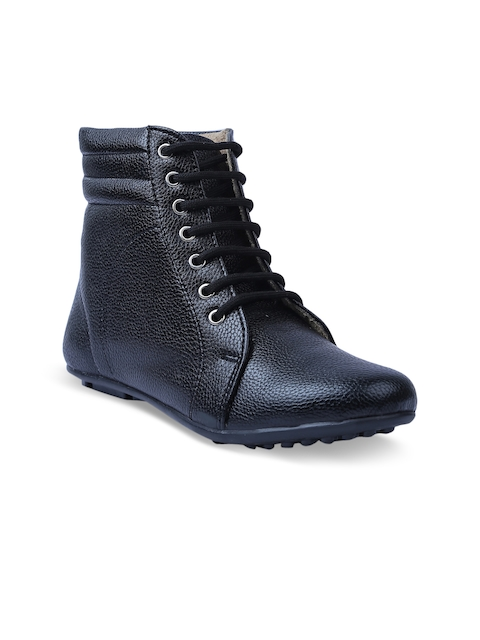 VALIOSAA Women Black Solid Synthetic Mid-Top Flat Boots