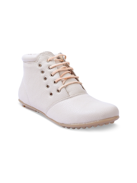 VALIOSAA Women Cream-Coloured Solid Synthetic Leather High-Top Flat Boots