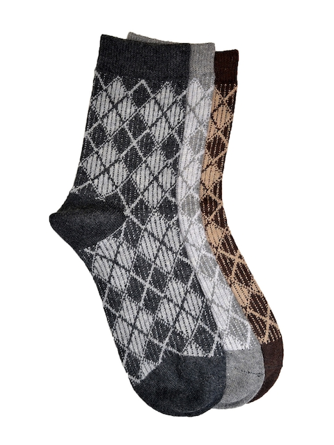 VINENZIA Men Set of 3 Patterned Above Ankle-Length Socks