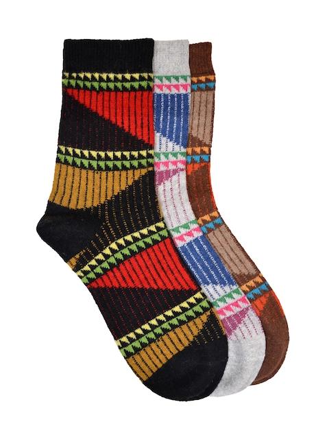 VINENZIA Men Set of 3 Patterned Above Ankle-Length Socks