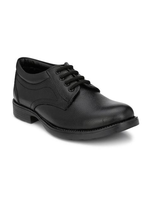Guava Men Black Leather Formal Derbys
