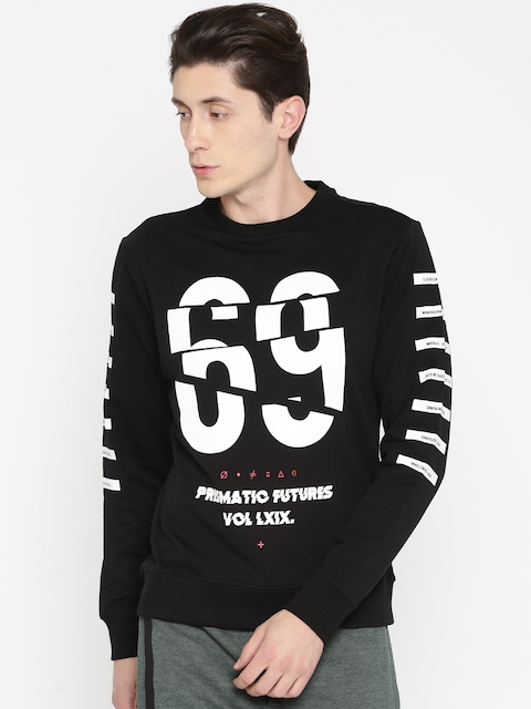 Flying Machine Men Black & White Printed Sweatshirt