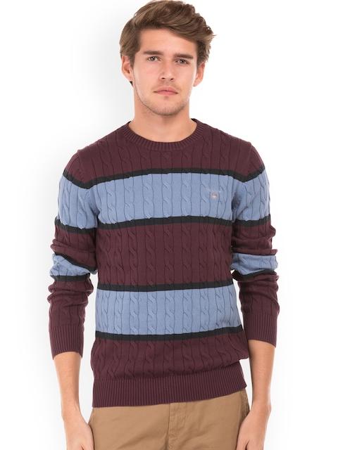 GANT Men Maroon & Blue Self Design Pullover